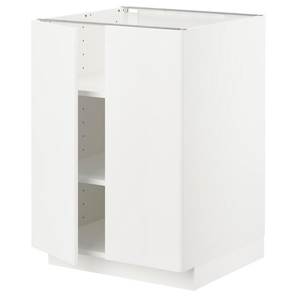 METOD Base cabinet with shelves/2 doors, white/Veddinge white, 60x60 cm