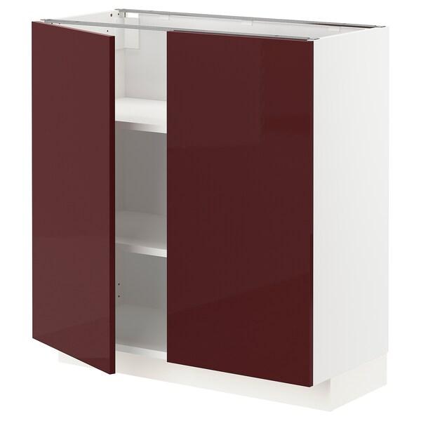 METOD base cabinet with shelves/2 doors white Kallarp/high-gloss dark red-brown 80.0 cm 39.2 cm 88.0 cm 37.0 cm 80.0 cm