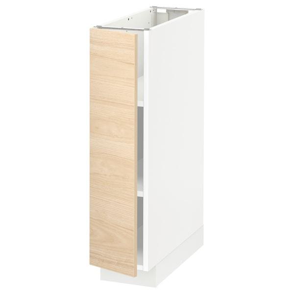 METOD Base cabinet with shelves, white/Askersund light ash effect, 20x60 cm