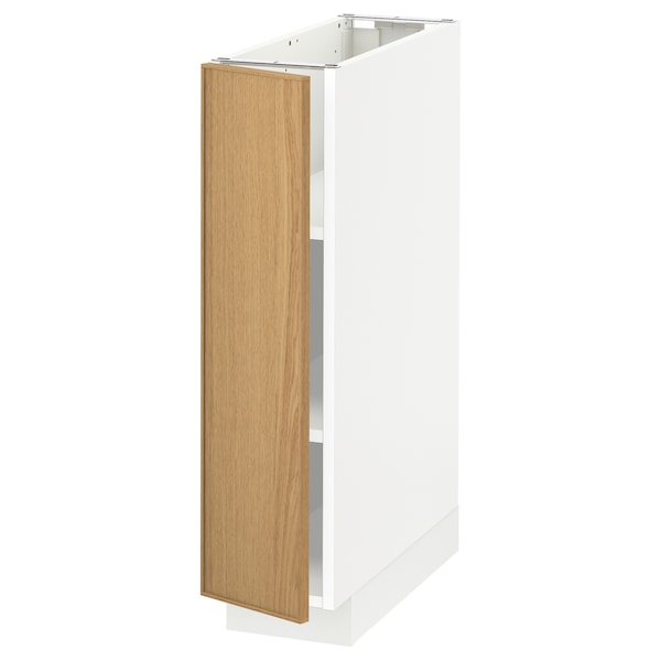 METOD Base cabinet with shelves, white/Ekestad oak, 20x60 cm