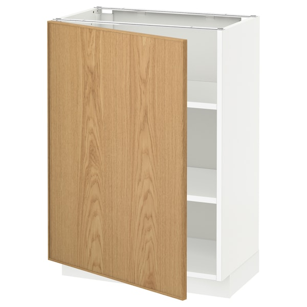 METOD Base cabinet with shelves, white/Ekestad oak, 60x37 cm