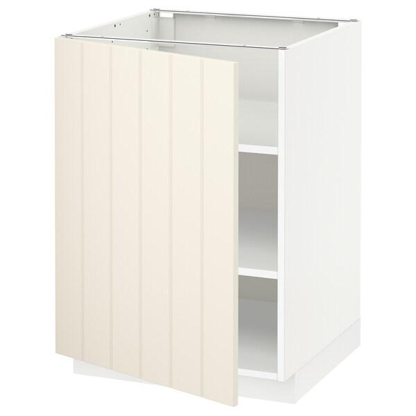 METOD base cabinet with shelves white/Hittarp off-white 60.0 cm 61.8 cm 88.0 cm 60.0 cm 80.0 cm