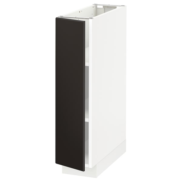 METOD Base cabinet with shelves, white/Kungsbacka anthracite, 20x60 cm