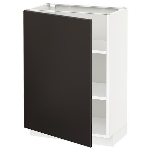METOD Base cabinet with shelves, white/Kungsbacka anthracite, 60x37 cm