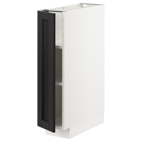 METOD Base cabinet with shelves, white/Lerhyttan black stained, 20x60 cm