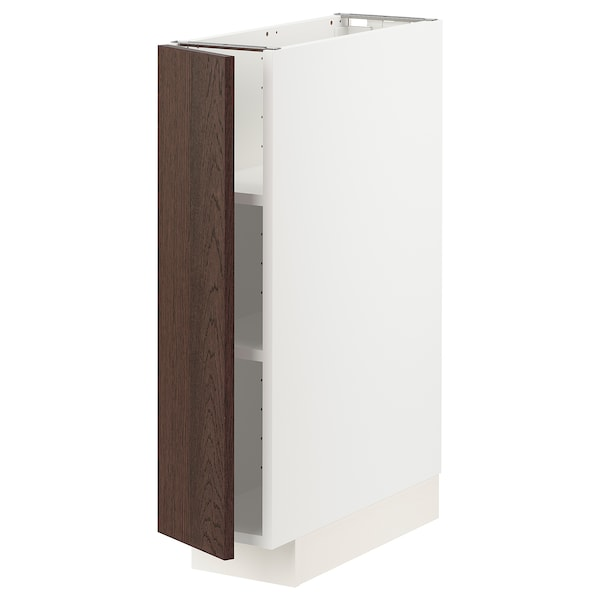 METOD Base cabinet with shelves, white/Sinarp brown, 20x60 cm