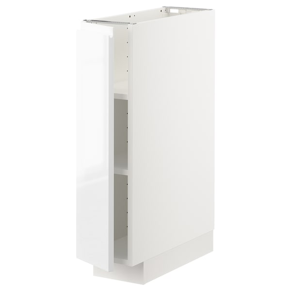 METOD Base cabinet with shelves, white/Voxtorp high-gloss/white, 20x60 cm