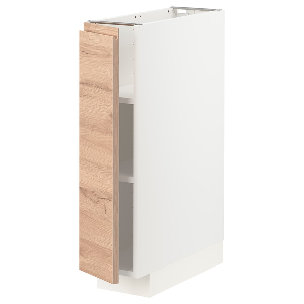 METOD Base cabinet with shelves, white/Voxtorp oak effect, 20x60 cm