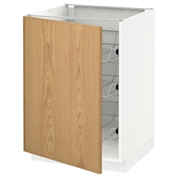 METOD Base cabinet with wire baskets, white/Ekestad oak, 60x60 cm