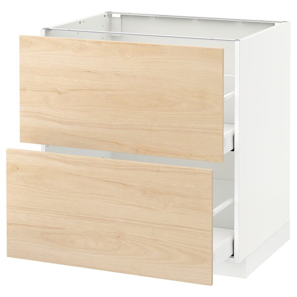 METOD Base cb 2 fronts/2 high drawers, white/Askersund light ash effect, 80x60 cm