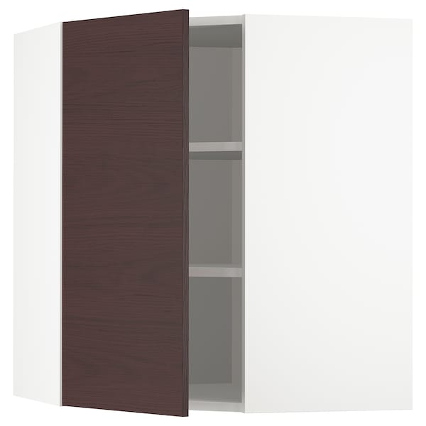 METOD Corner wall cabinet with shelves, white Askersund/dark brown ash effect, 68x80 cm