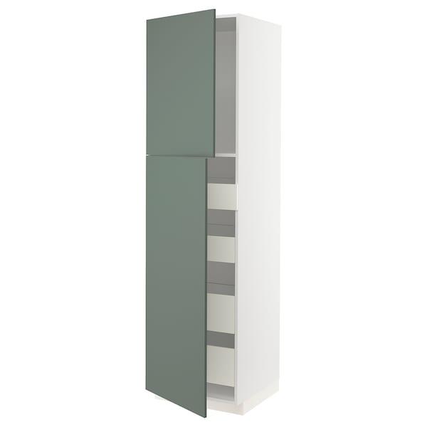METOD / FÖRVARA hi cab w 2 doors/4 drawers white/Bodarp grey-green 60.0 cm 61.6 cm 228.0 cm 60.0 cm 220.0 cm