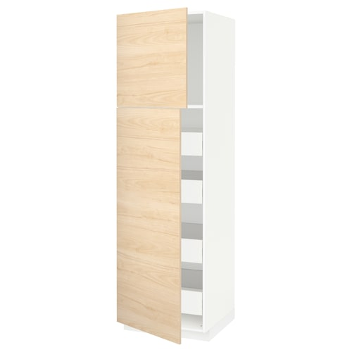 METOD / FÖRVARA hi cab w 2 doors/4 drawers white/Askersund light ash effect 60.0 cm 61.6 cm 208.0 cm 60.0 cm 200.0 cm