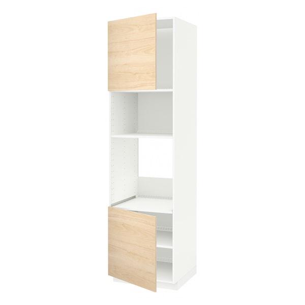 METOD Hi cb f oven/micro w 2 drs/shelves, white/Askersund light ash effect, 60x60x220 cm