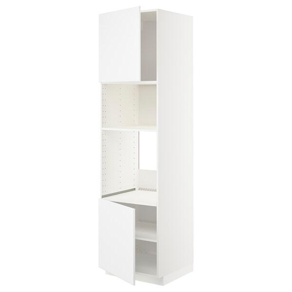 METOD Hi cb f oven/micro w 2 drs/shelves, white/Kungsbacka matt white, 60x60x220 cm