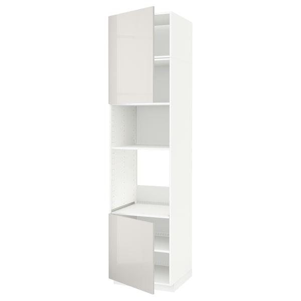 METOD Hi cb f oven/micro w 2 drs/shelves, white/Ringhult light grey, 60x60x240 cm