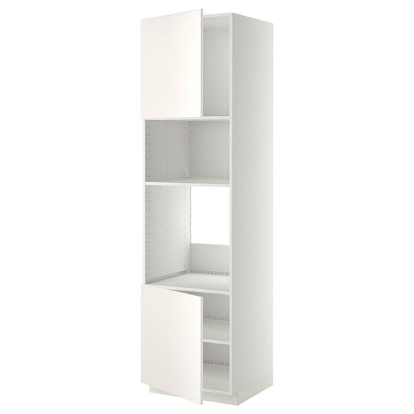 METOD Hi cb f oven/micro w 2 drs/shelves, white/Veddinge white, 60x60x220 cm