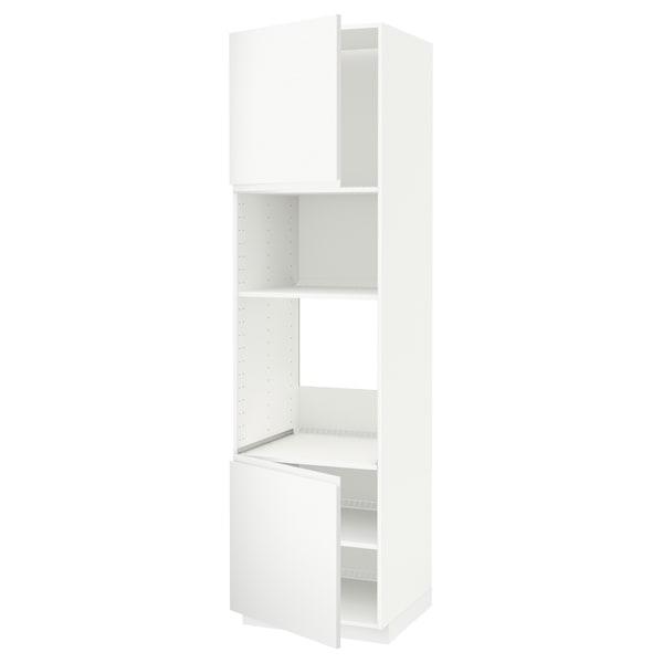 METOD Hi cb f oven/micro w 2 drs/shelves, white/Voxtorp matt white, 60x60x220 cm