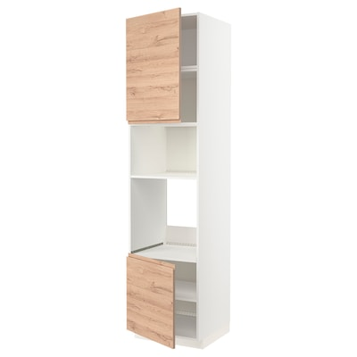 METOD Hi cb f oven/micro w 2 drs/shelves, white/Voxtorp oak effect, 60x60x240 cm