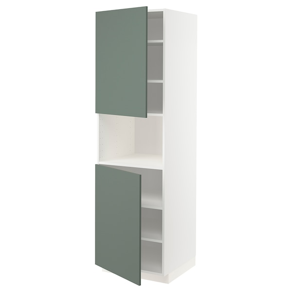 METOD High cab f micro w 2 doors/shelves, white/Bodarp grey-green, 60x60x200 cm