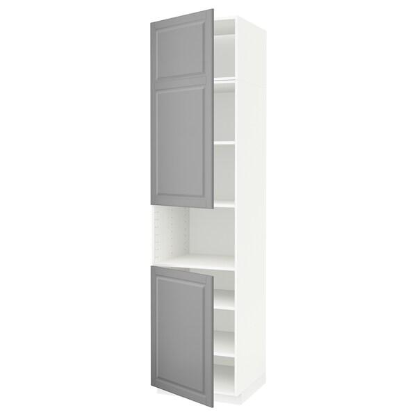 METOD High cab f micro w 2 doors/shelves, white/Bodbyn grey, 60x60x240 cm