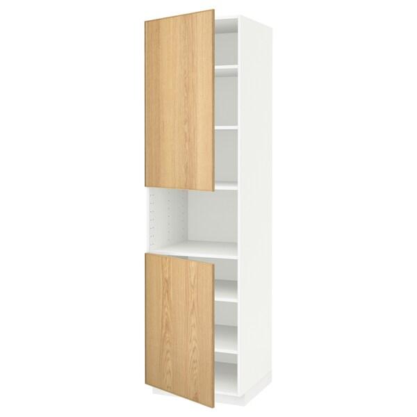 METOD High cab f micro w 2 doors/shelves, white/Ekestad oak, 60x60x220 cm