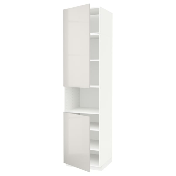 METOD high cab f micro w 2 doors/shelves white/Ringhult light grey 60.0 cm 61.8 cm 248.0 cm 60.0 cm 240.0 cm
