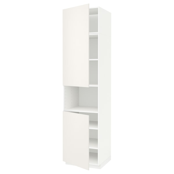 METOD high cab f micro w 2 doors/shelves white/Veddinge white 60.0 cm 61.6 cm 248.0 cm 60.0 cm 240.0 cm