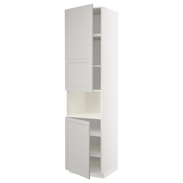 METOD high cab f micro w 2 doors/shelves white/Lerhyttan light grey 60.0 cm 61.9 cm 248.0 cm 60.0 cm 240.0 cm