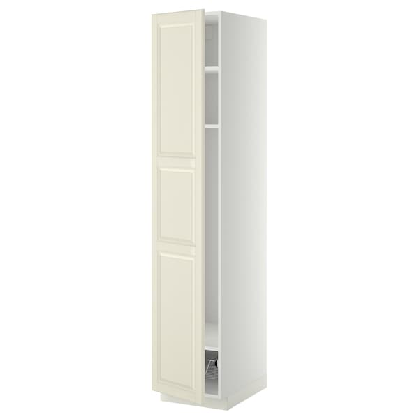 METOD high cabinet w shelves/wire basket white/Bodbyn off-white 40.0 cm 61.9 cm 208.0 cm 60.0 cm 200.0 cm