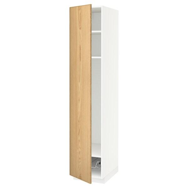 METOD high cabinet w shelves/wire basket white/Ekestad oak 40.0 cm 61.9 cm 208.0 cm 60.0 cm 200.0 cm