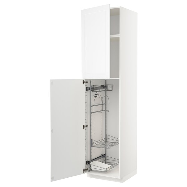 METOD High cabinet with cleaning interior, white/Axstad matt white, 60x60x240 cm