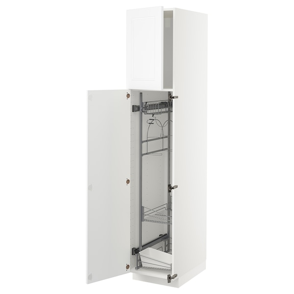 METOD High cabinet with cleaning interior, white/Axstad matt white, 40x60x200 cm