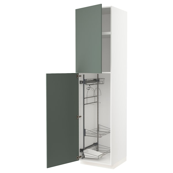 METOD High cabinet with cleaning interior, white/Bodarp grey-green, 60x60x240 cm