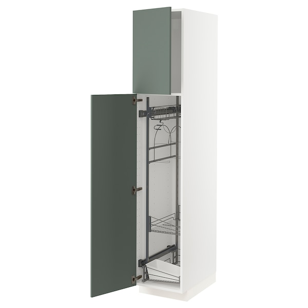 METOD High cabinet with cleaning interior, white/Bodarp grey-green, 40x60x200 cm