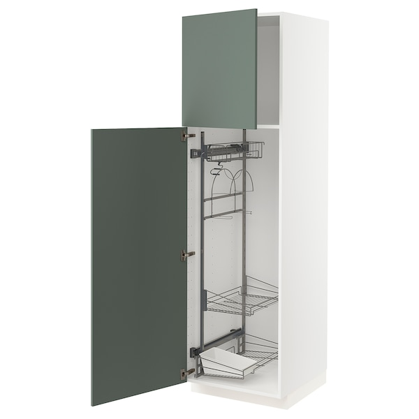 METOD High cabinet with cleaning interior, white/Bodarp grey-green, 60x60x200 cm
