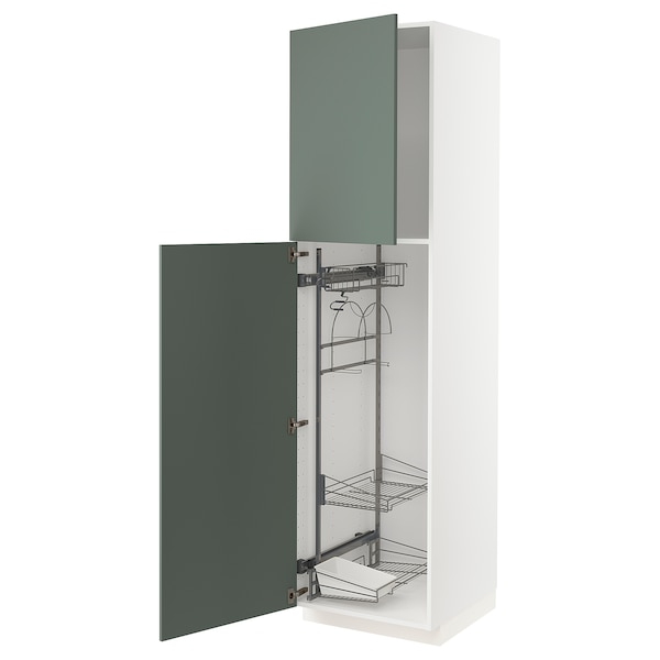 METOD High cabinet with cleaning interior, white/Bodarp grey-green, 60x60x220 cm