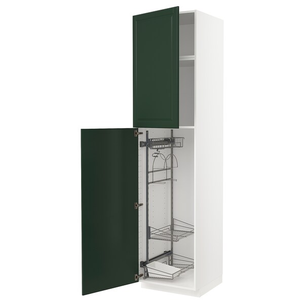 METOD High cabinet with cleaning interior, white/Bodbyn dark green, 60x60x240 cm