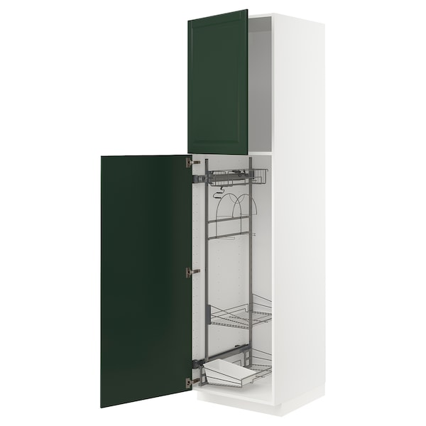 METOD High cabinet with cleaning interior, white/Bodbyn dark green, 60x60x220 cm