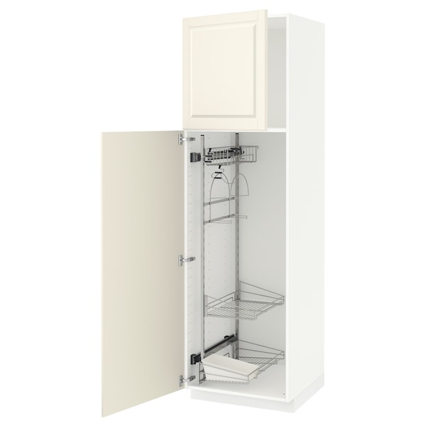METOD High cabinet with cleaning interior, white/Bodbyn off-white, 60x60x200 cm