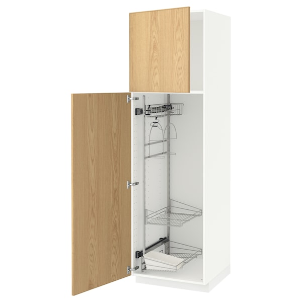 METOD High cabinet with cleaning interior, white/Ekestad oak, 60x60x200 cm