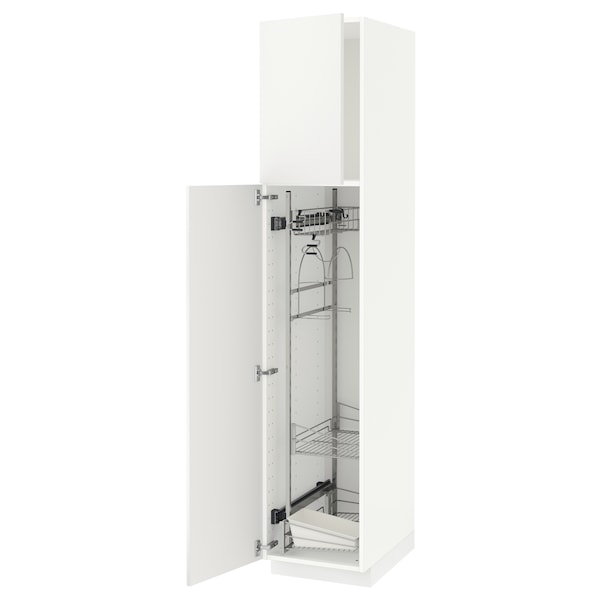 METOD High cabinet with cleaning interior, white/Häggeby white, 40x60x200 cm