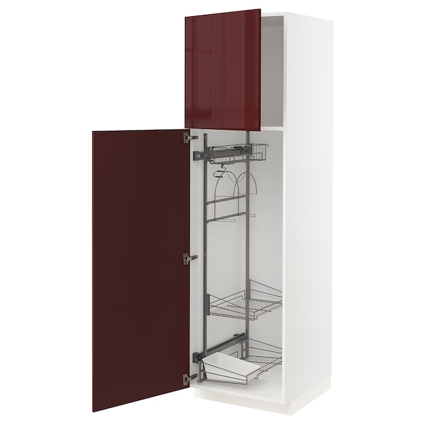 METOD High cabinet with cleaning interior, white Kallarp/high-gloss dark red-brown, 60x60x200 cm