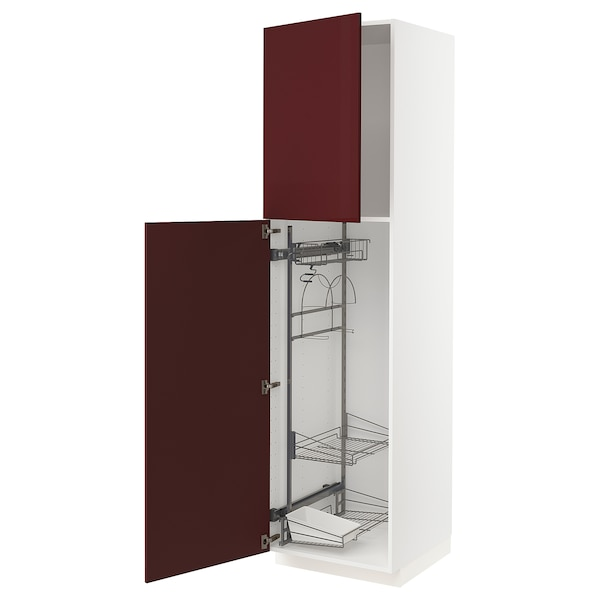 METOD High cabinet with cleaning interior, white Kallarp/high-gloss dark red-brown, 60x60x220 cm