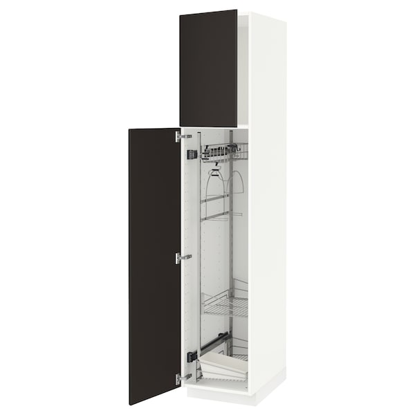 METOD High cabinet with cleaning interior, white/Kungsbacka anthracite, 40x60x200 cm