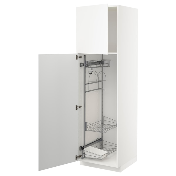 METOD High cabinet with cleaning interior, white/Kungsbacka matt white, 60x60x200 cm