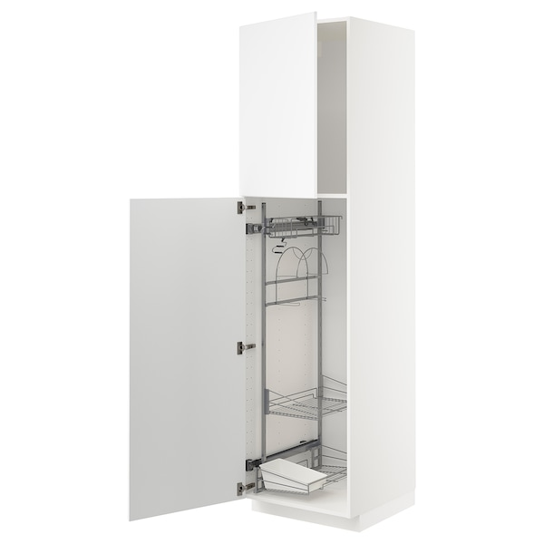 METOD High cabinet with cleaning interior, white/Kungsbacka matt white, 60x60x220 cm