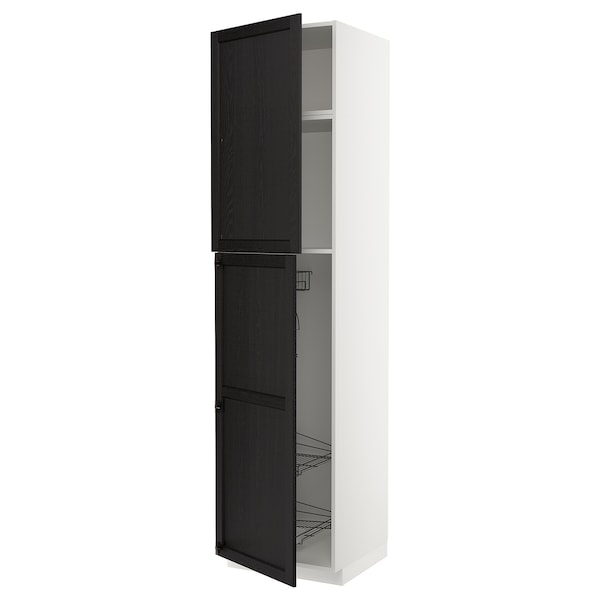 METOD High cabinet with cleaning interior, white/Lerhyttan black stained, 60x60x240 cm