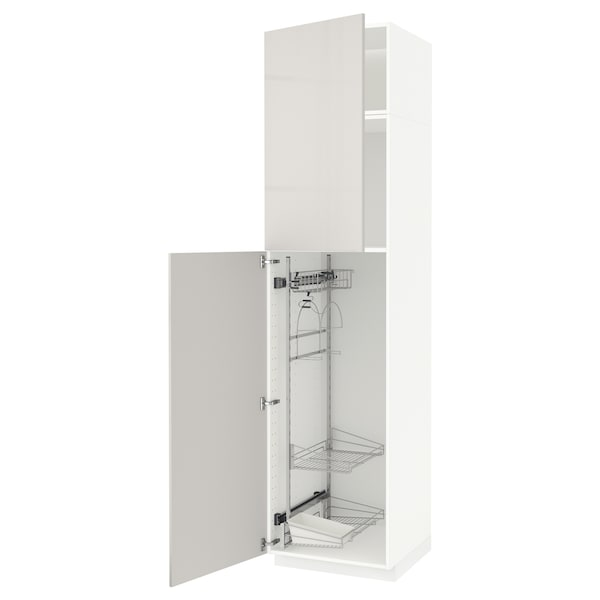 METOD High cabinet with cleaning interior, white/Ringhult light grey, 60x60x240 cm