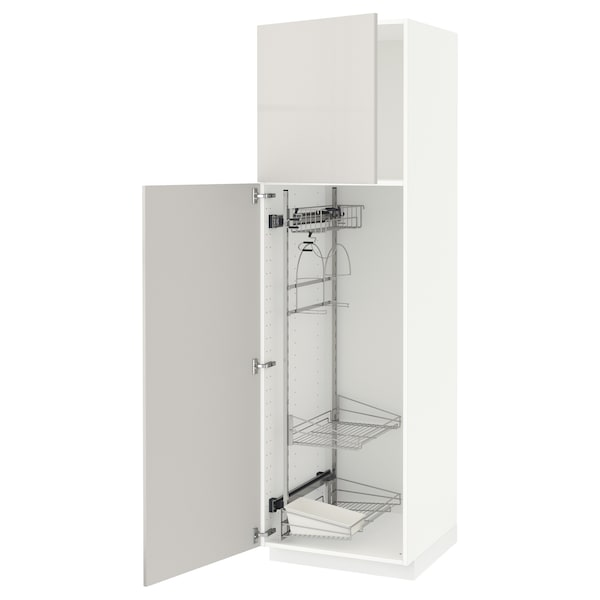 METOD High cabinet with cleaning interior, white/Ringhult light grey, 60x60x200 cm